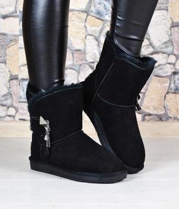 Угги женские замшевые черные