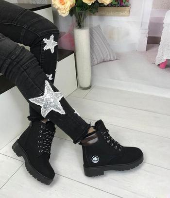 Ботинки тимберленд зимние женские черные