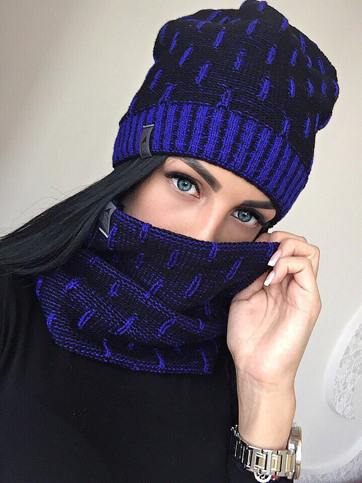 набор шапка + шарф, шапка и шарф, модные шапки