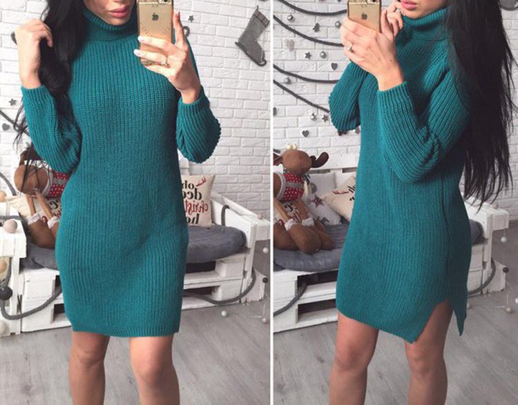 Платье-туника вязанное