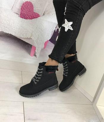 Зимние женские ботинки тимберленд черные