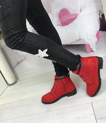 Ботинки женские зимние красные 2017-18