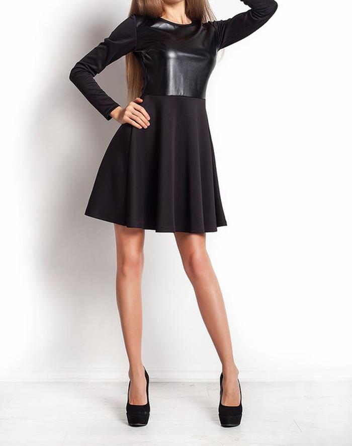 """Платье черное с кожаным верхом """"Тати"""""""