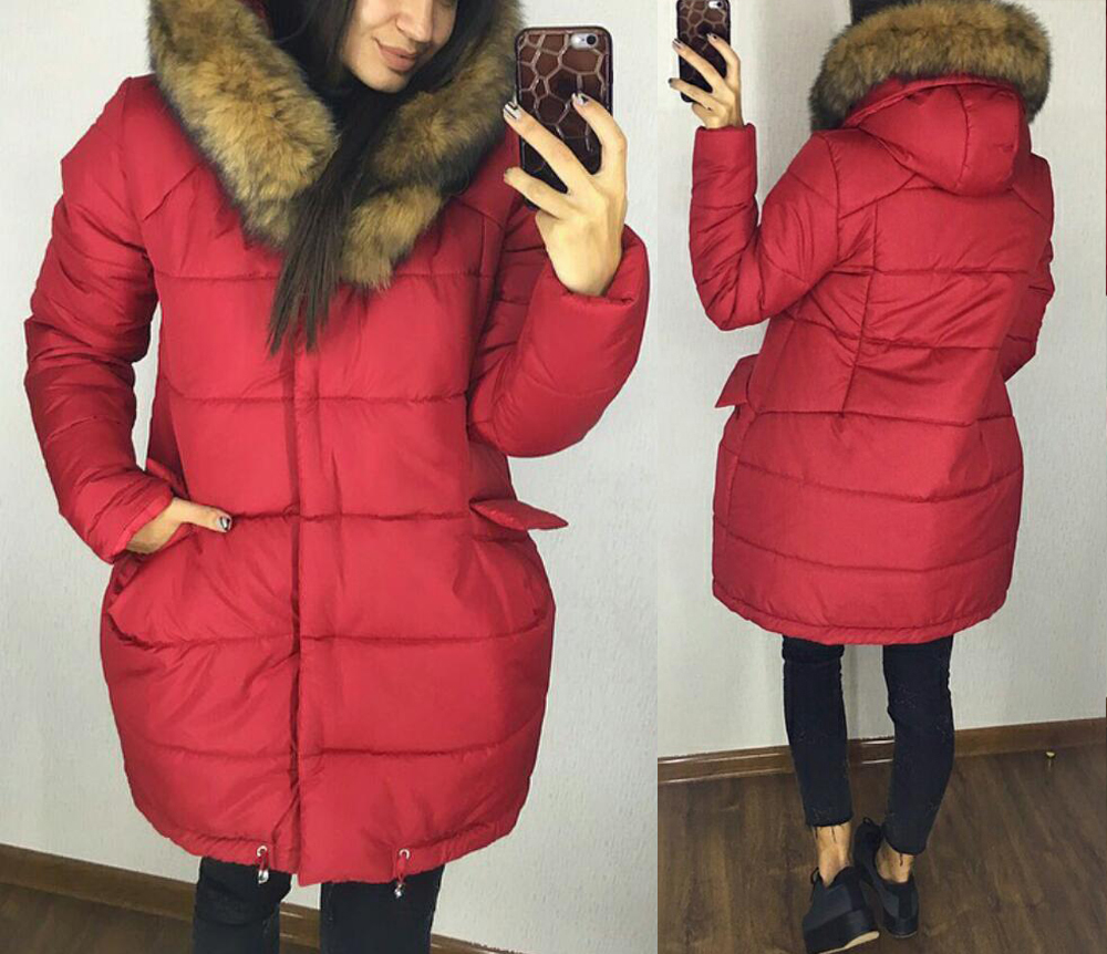 красная зимняя куртка с капюшоном, синяя зимняя куртка с мехом