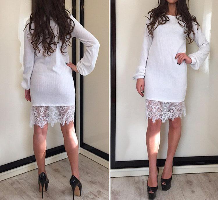 Платье ангора рубчик с дорогим кружевом