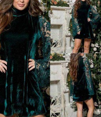 """Платье бархатное """"Джесси"""" с гипюровыми рукавами"""