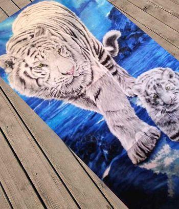 """Пляжное полотенце """"Белые тигры"""""""