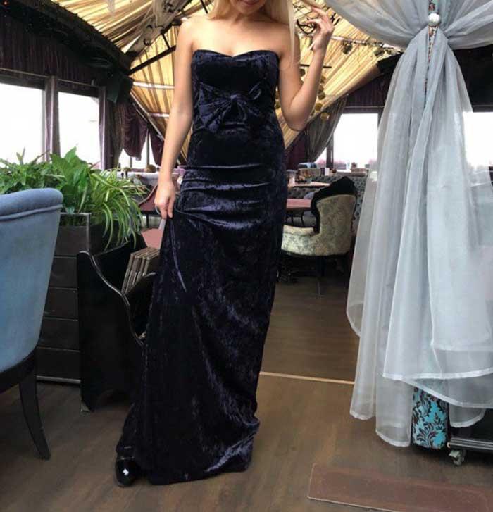 Платье длинное бархатное с бантом