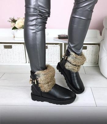 Угги короткие кожаные с мехом кролика
