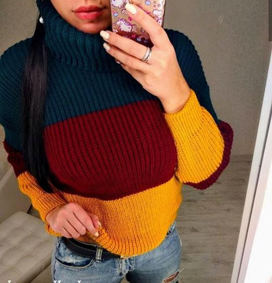 """Женский трехцветный модный вязаный свитер """"Арчи"""""""