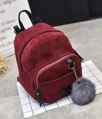 бордовый рюкзак, серый рюкзак, вельветовый рюкзак