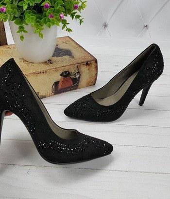 туфли женские из экозамши, туфли на высоком каблуке, классические туфли лодочки