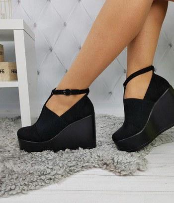 туфли женские из экозамши, туфли на высокой платформе с танкеткой