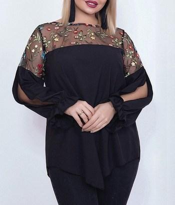 большие блузки, черная блуза больших размеров