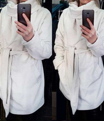 """Модное женское пальто больших размеров с запахом """"Дженис"""""""