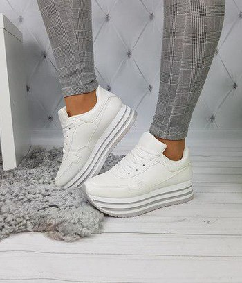 """Кроссовки белые на высокой платформе """"Lana"""" демисезонные"""