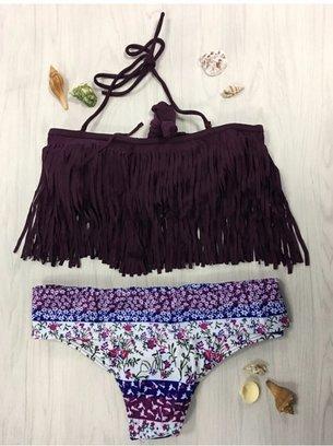 фиолетовый купальник с бахромой