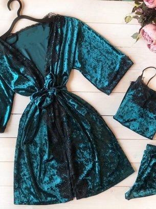 велюровый зеленый комплект