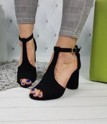 """Классические черные босоножки на небольшом каблуке """"Джессика"""""""