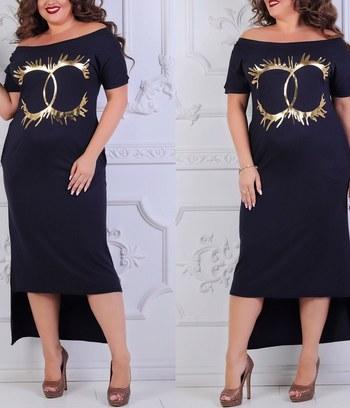 """Модное трикотажное платье больших размеров """"Элла"""""""