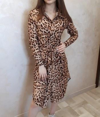 """Модное платье рубашка с ярким принтом """"Леопард"""""""