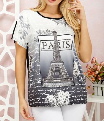 "Стильная женская футболка батал ""Париж"""