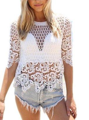 ажурная белая блуза