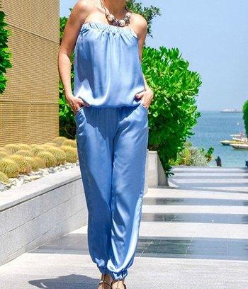 модные женские комбинезоны, брючные летние комбинезоны, шелковый комбинезон, голубой брючный комбинезон