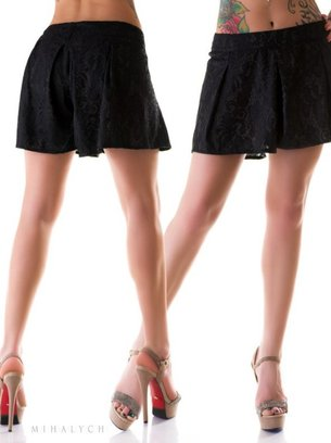черные шорты-юбка