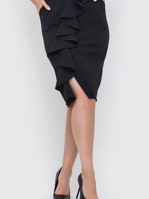 чёрная юбка с воланами