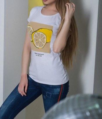 """Стильная летняя женская футболка """"Лимон"""""""