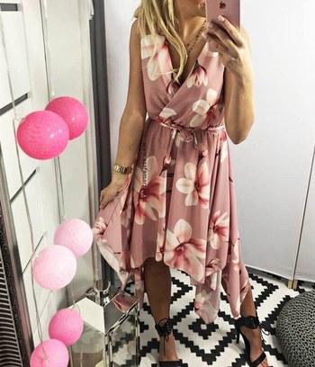 модные летние платья, яркие летние платья с цветочным принтом, летние платья с юбкой ассиметрия, платье из софта