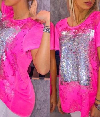 модные женские футболки, женская футболка с пайетками, женская футболка из хлопка