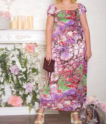 """Большое стильное летнее платье макси с ярким принтом """"Bertha"""""""