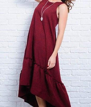 """Льняное платье сарафан больших размеров """"Гортензия"""""""
