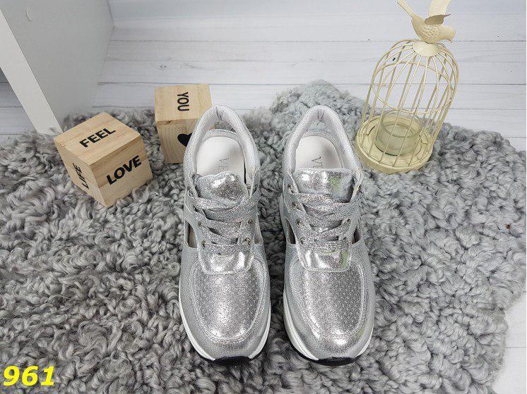модные женские кроссовки сникерсы на высокой платформе с танкеткой, серебрянные кроссовки сникерсы, кроссовки сникерсы с открытой пяткой