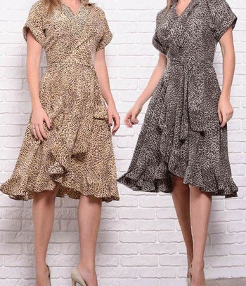 """Модное большое леопардовое платье на запах """"Бланка"""""""