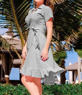 модные пляжные платья, летние платья на запах, летние платья в полоску, хлопковые летние платья, батальное пляжное платье