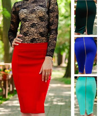 классическая юбка карандаш, стильные классические юбки из трикотажа, юбки больших размеров