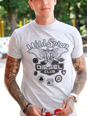 меланжевая футболка с принтом