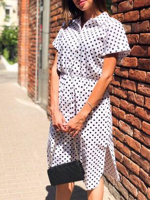 модное платье, платье в горох