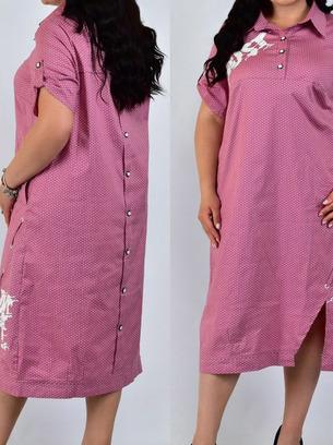 модное платье рубашка в горошек