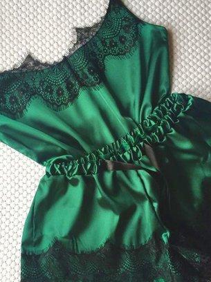 зеленая аилпсная пижама с кружевом