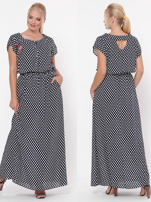модное платье в горох, большое платье в горох