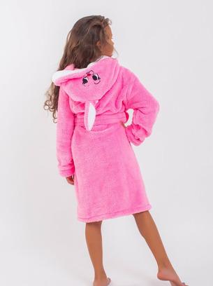 махровый детский халат, розовый халат с ушками