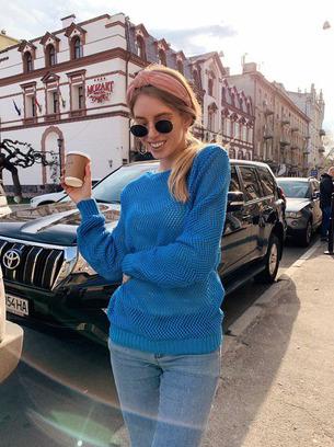 акриловый свитер, голубой свитер женский