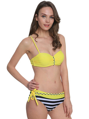 купальник бандо малиновый, купальник бандо желтый