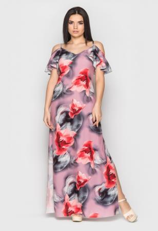 желтый длинный сарафан с цветочным принтом, розовый сарафан