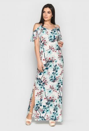 белый длинный сарафан с цветочным принтом