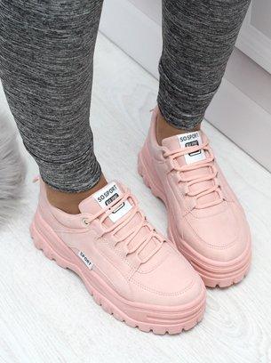 розовые кроссовки на массивной подошве